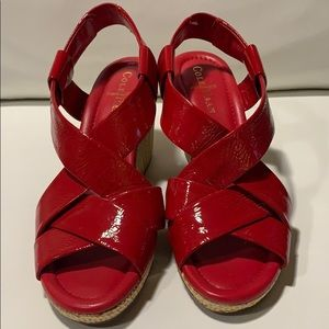 Cole Haan Nike Air EUC red pat leather wedge ~8